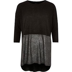 Black layered metallic tunic