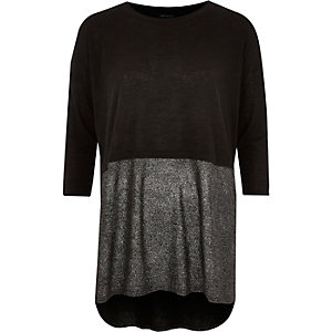 Black layered metallic tunic