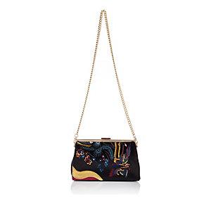 Black embroidered velvet clutch bag