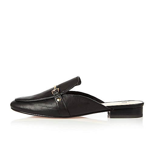 Black leather backless loafers