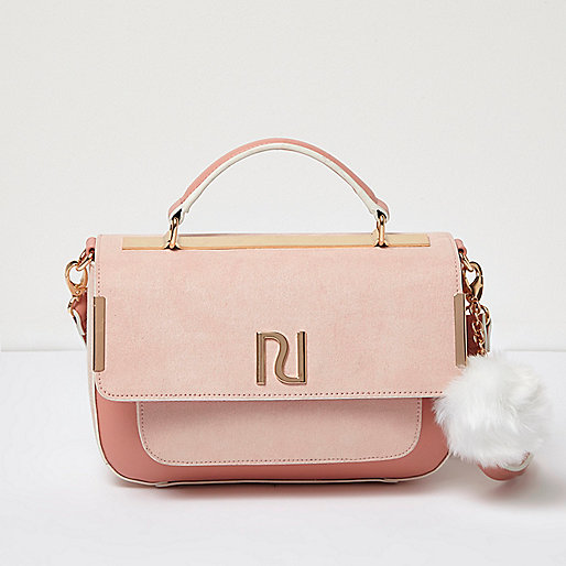 Pink pom pom satchel bag