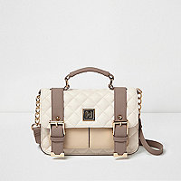 Cream quilted buckle handbag