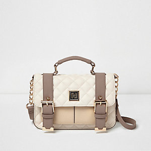 Cream quilted satchel bag