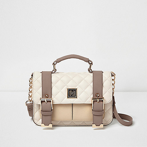 Cream quilted buckle handbag
