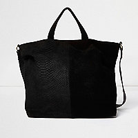 Black leather and suede panel tote handbag