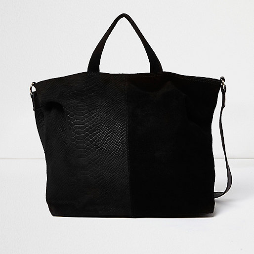 Black leather and suede panel tote bag