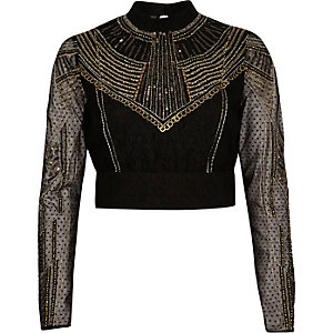 Gold embellished crop top