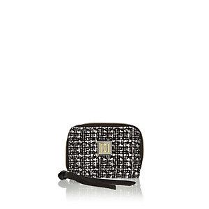 Black tweed zip purse