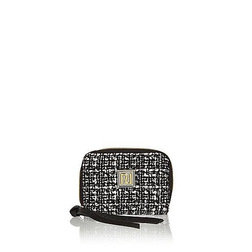 Schwarze Tweed-Geldbörse mit Reißverschluss
