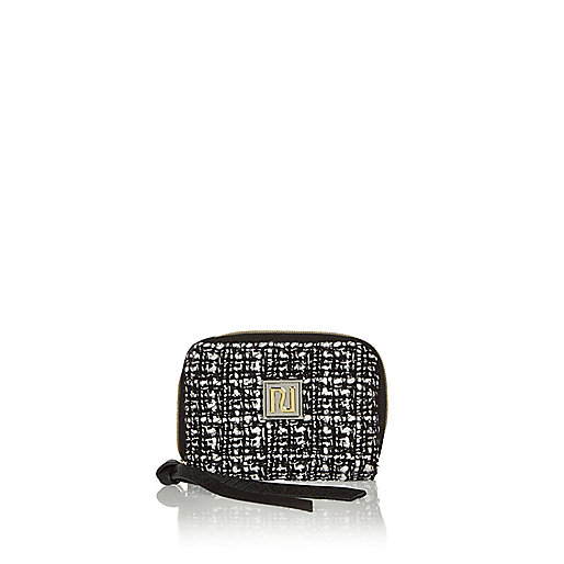 Black tweed zip purse