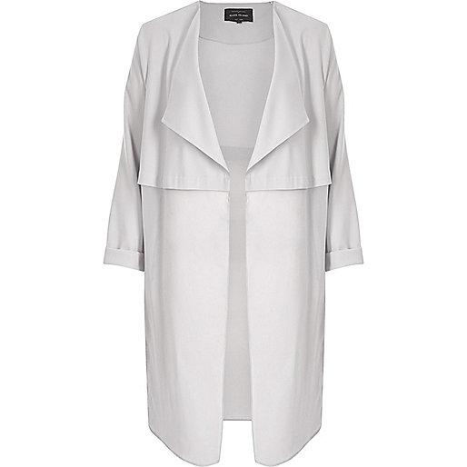 Light grey chiffon duster jacket