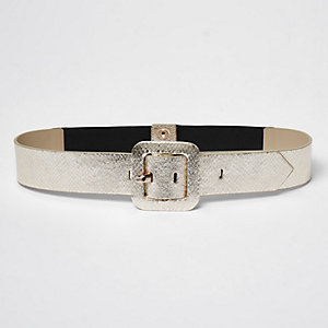 Gold tone square buckle waistbelt