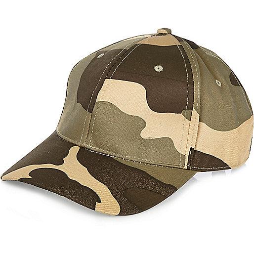 Green camouflage print cap