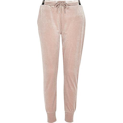 Pantalon de jogging en jersey de velours rose