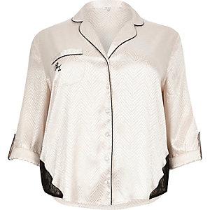 Plus cream lace detail pyjama shirt
