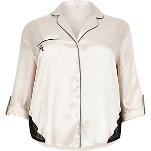 Plus cream lace detail pajama shirt