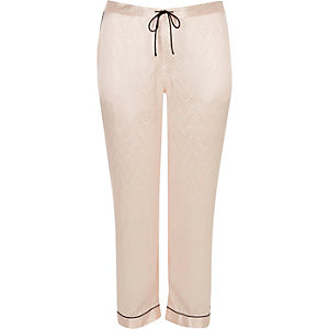 Plus cream satin lace pyjama trousers