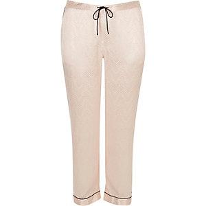 Pantalon de pyjama Plus en satin crème à dentelle