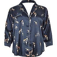 Chemise de pyjama Plus en satin imprimé girafe bleu marine