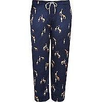 Plus navy giraffe print pyjama trousers