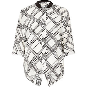 White grid print popper shirt