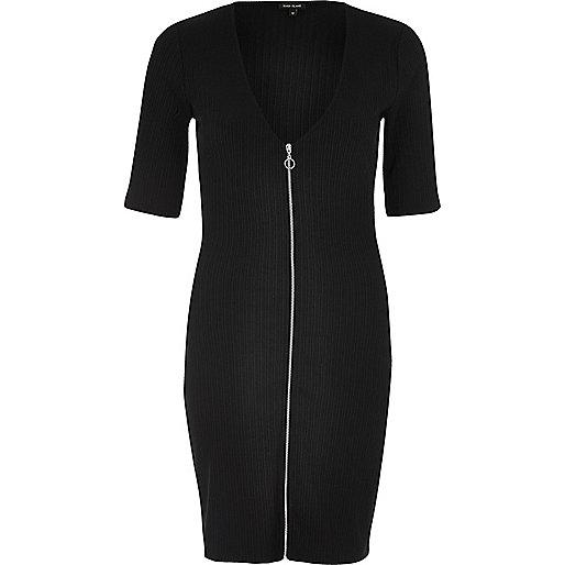 Black zip through bodycon dress