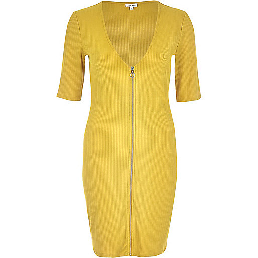 Dark yellow zip through bodycon dress