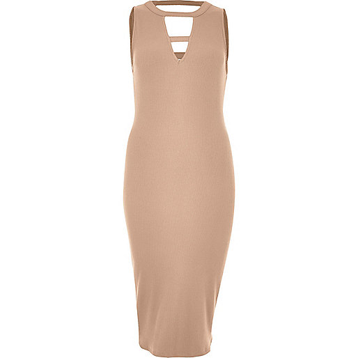 Nude ribbed cut-out midi dress