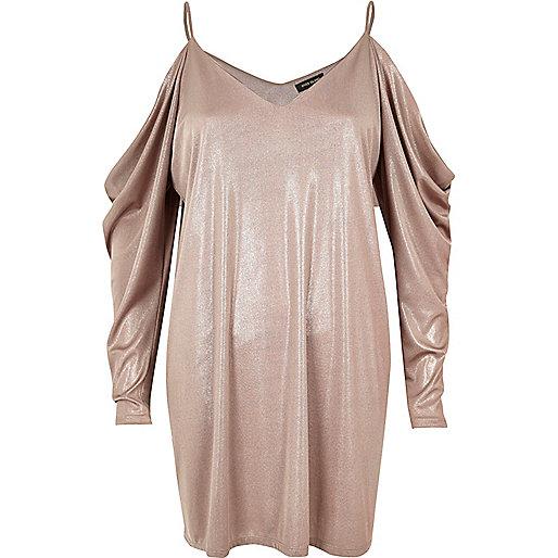 Metallic pink ruched cold shoulder dress