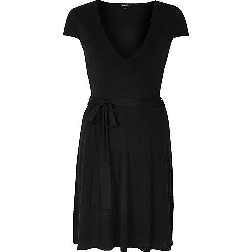 Black slinky skater dress