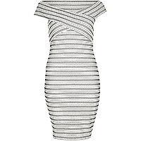 White embroidered stripe bardot dress
