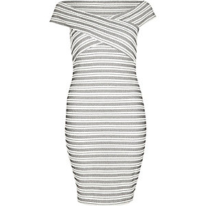 White embroidered stripe bardot dress