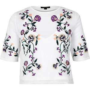 White floral embroidered crop top