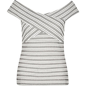 White embroidered stripe bardot top