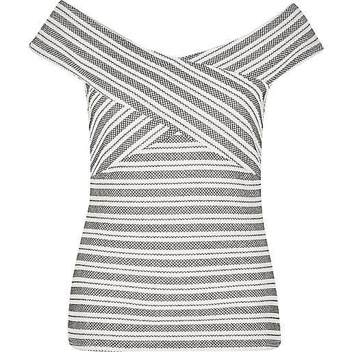 White embroidered stripe bardot top