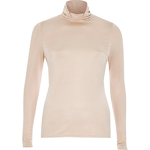 Pink silky roll neck top