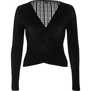 Black pleated lace wrap top