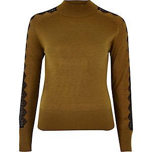 Dark yellow lace sleeve turtleneck top