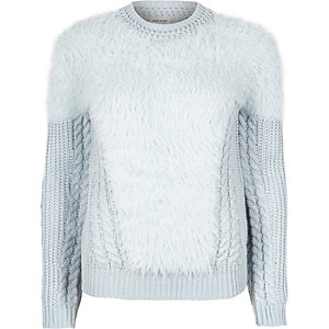 Light blue fluffy cable knit jumper