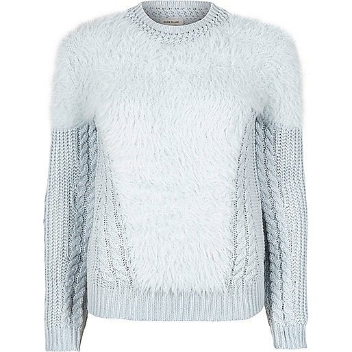 Light blue fluffy cable knit sweater