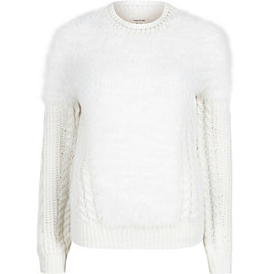 Cream fluffy cable knit sweater