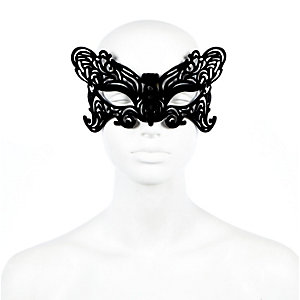 Masque pour les yeux motif papillon en velours noir