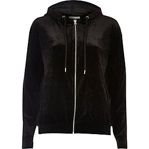 Black velour zip hoodie