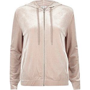 Light pink velour zip hoodie