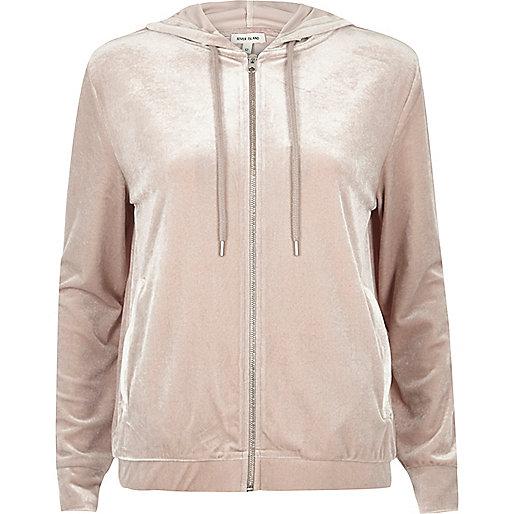 Sweat à capuche zippé en velours rose clair