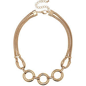 Gold tone circle statement necklace