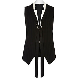 Black pinstripe neck tie vest