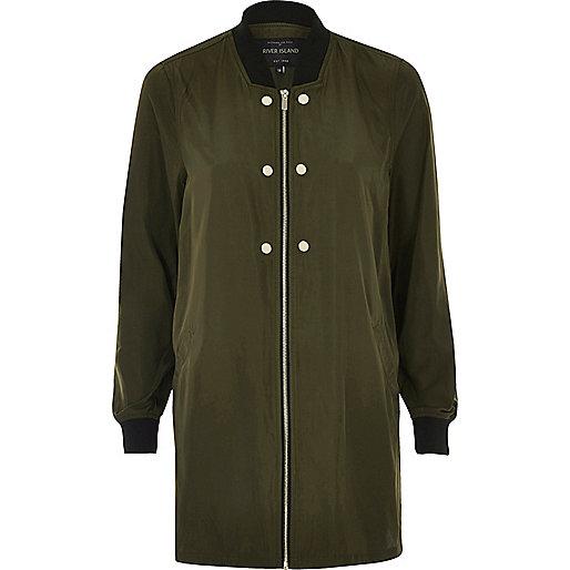 Khaki bomber duster jacket