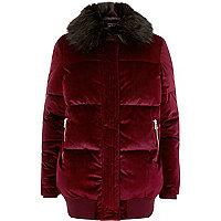 Burgundy velvet puffer coat