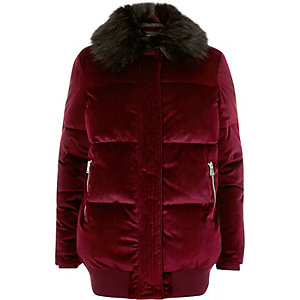 Dark red velvet padded coat